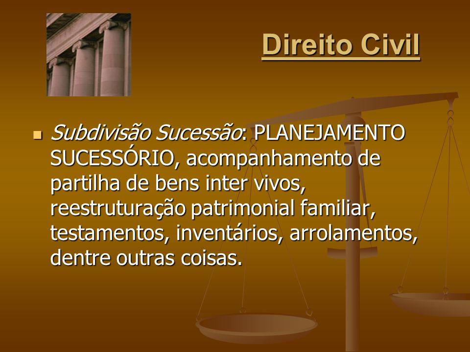 Direito Civil Subdivisão Sucessão: PLANEJAMENTO SUCESSÓRIO, acompanhamento de partilha de bens inter vivos, reestruturação patrimonial familiar, testa