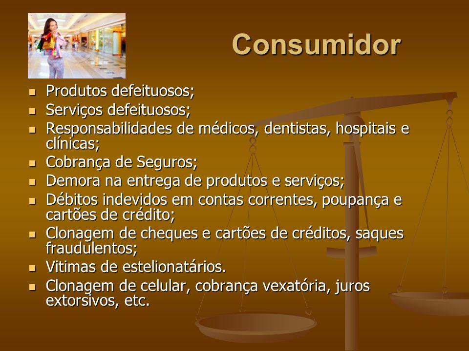 Consumidor Produtos defeituosos; Produtos defeituosos; Serviços defeituosos; Serviços defeituosos; Responsabilidades de médicos, dentistas, hospitais