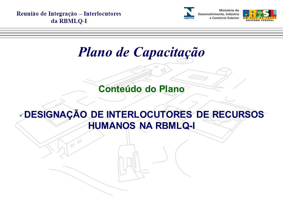 Reunião de Integração – Interlocutores da RBMLQ-I Plano de Capacitação Conteúdo do Plano DESIGNAÇÃO DE INTERLOCUTORES DE RECURSOS HUMANOS NA RBMLQ-I