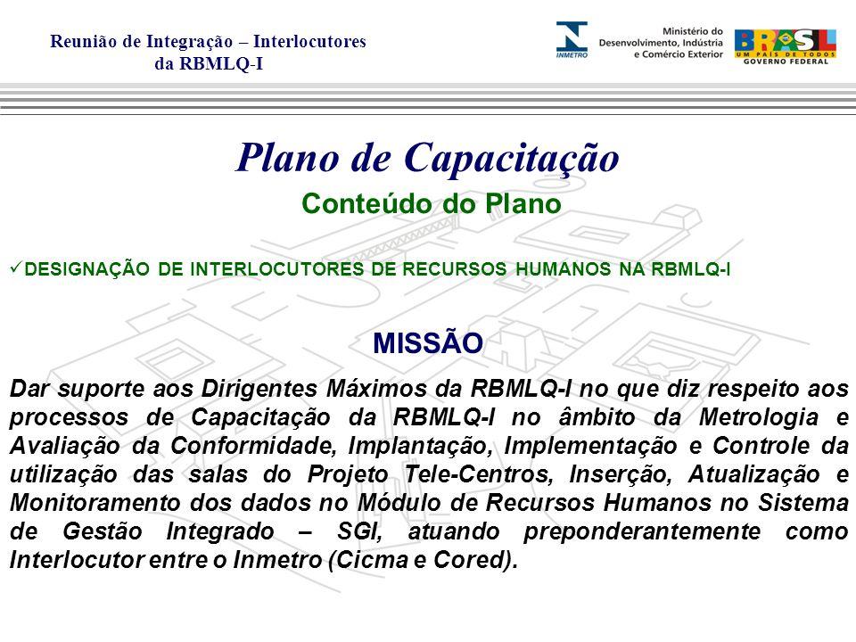 Reunião de Integração – Interlocutores da RBMLQ-I Plano de Capacitação Conteúdo do Plano DESIGNAÇÃO DE INTERLOCUTORES DE RECURSOS HUMANOS NA RBMLQ-I MISSÃO Dar suporte aos Dirigentes Máximos da RBMLQ-I no que diz respeito aos processos de Capacitação da RBMLQ-I no âmbito da Metrologia e Avaliação da Conformidade, Implantação, Implementação e Controle da utilização das salas do Projeto Tele-Centros, Inserção, Atualização e Monitoramento dos dados no Módulo de Recursos Humanos no Sistema de Gestão Integrado – SGI, atuando preponderantemente como Interlocutor entre o Inmetro (Cicma e Cored).
