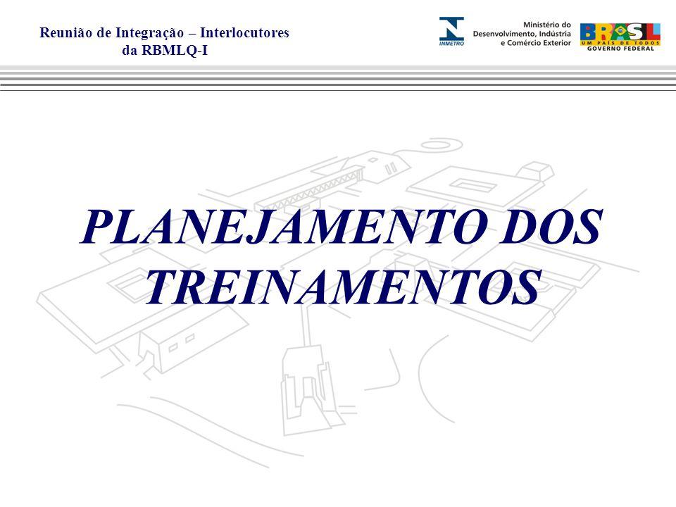 Reunião de Integração – Interlocutores da RBMLQ-I PLANEJAMENTO DOS TREINAMENTOS