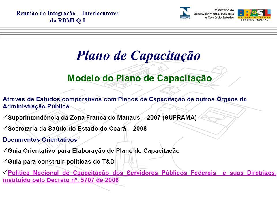 Reunião de Integração – Interlocutores da RBMLQ-I Plano de Capacitação Modelo do Plano de Capacitação Através de Estudos comparativos com Planos de Capacitação de outros Órgãos da Administração Pública Superintendência da Zona Franca de Manaus – 2007 (SUFRAMA) Secretaria da Saúde do Estado do Ceará – 2008 Documentos Orientativos Guia Orientativo para Elaboração de Plano de Capacitação Guia para construir políticas de T&D Política Nacional de Capacitação dos Servidores Públicos Federais e suas Diretrizes, instituído pelo Decreto nº.