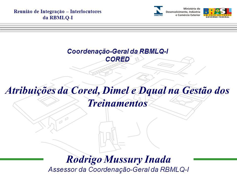 Reunião de Integração – Interlocutores da RBMLQ-I Coordenação-Geral da RBMLQ-I CORED Atribuições da Cored, Dimel e Dqual na Gestão dos Treinamentos Rodrigo Mussury Inada Assessor da Coordenação-Geral da RBMLQ-I