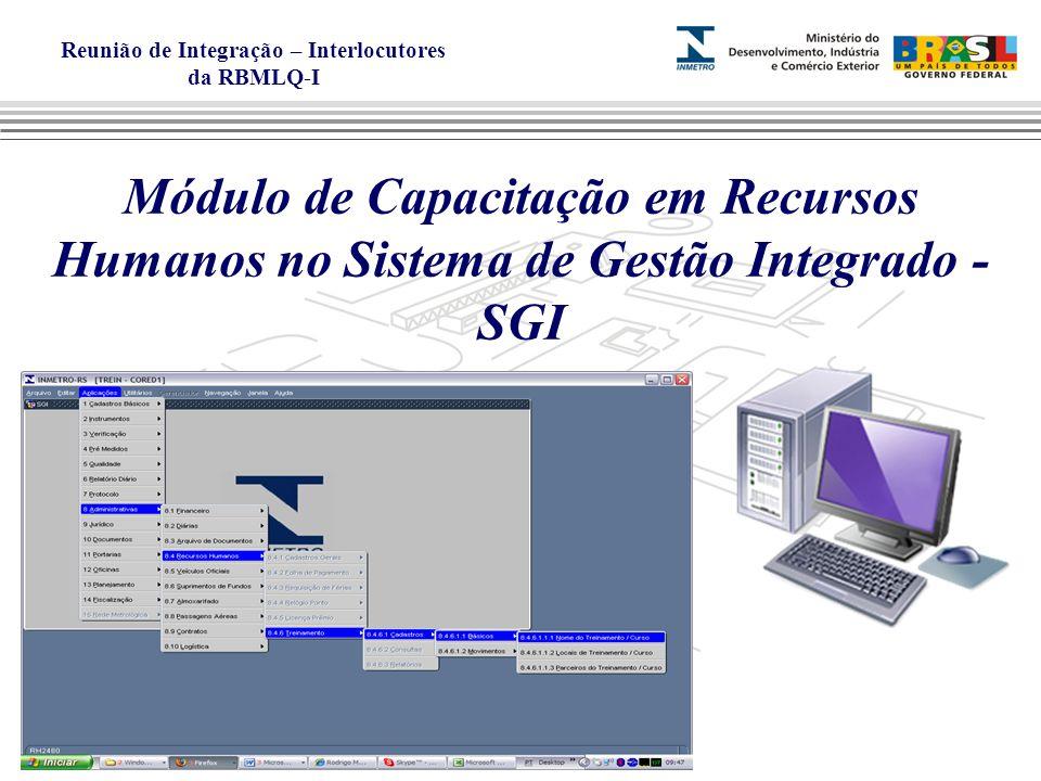 Reunião de Integração – Interlocutores da RBMLQ-I Módulo de Capacitação em Recursos Humanos no Sistema de Gestão Integrado - SGI