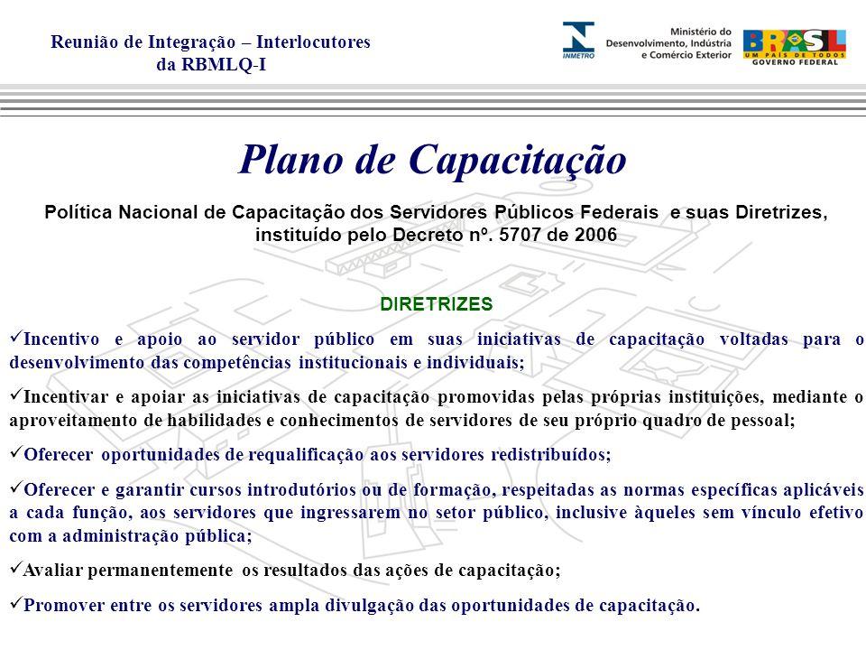Reunião de Integração – Interlocutores da RBMLQ-I Plano de Capacitação Política Nacional de Capacitação dos Servidores Públicos Federais e suas Diretrizes, instituído pelo Decreto nº.