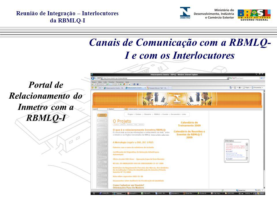 Reunião de Integração – Interlocutores da RBMLQ-I Canais de Comunicação com a RBMLQ- I e com os Interlocutores Portal de Relacionamento do Inmetro com a RBMLQ-I