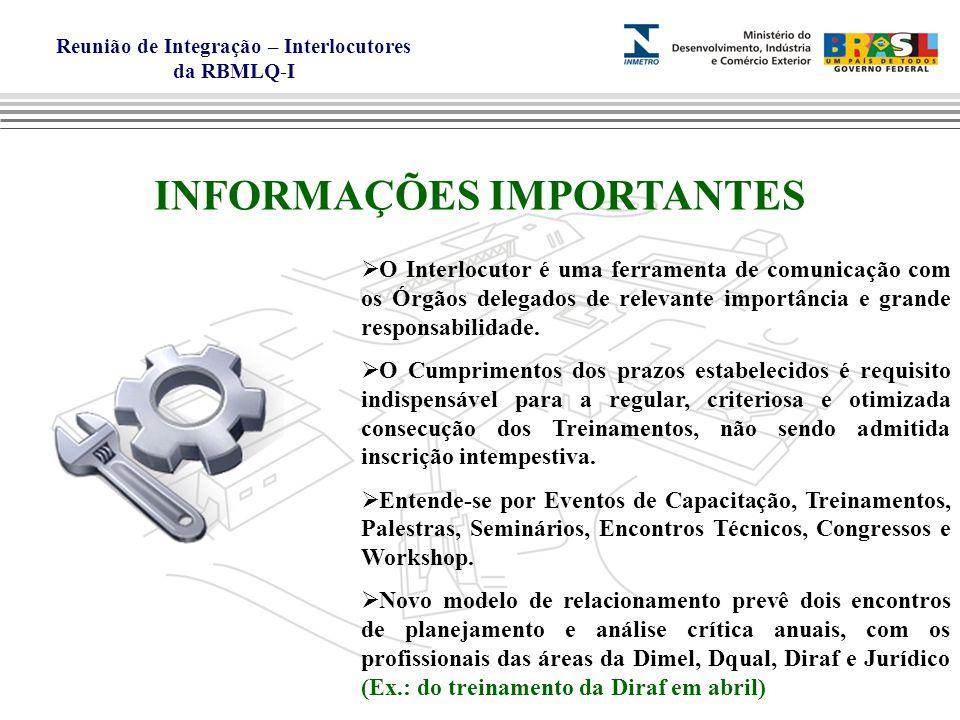 Reunião de Integração – Interlocutores da RBMLQ-I INFORMAÇÕES IMPORTANTES O Interlocutor é uma ferramenta de comunicação com os Órgãos delegados de relevante importância e grande responsabilidade.