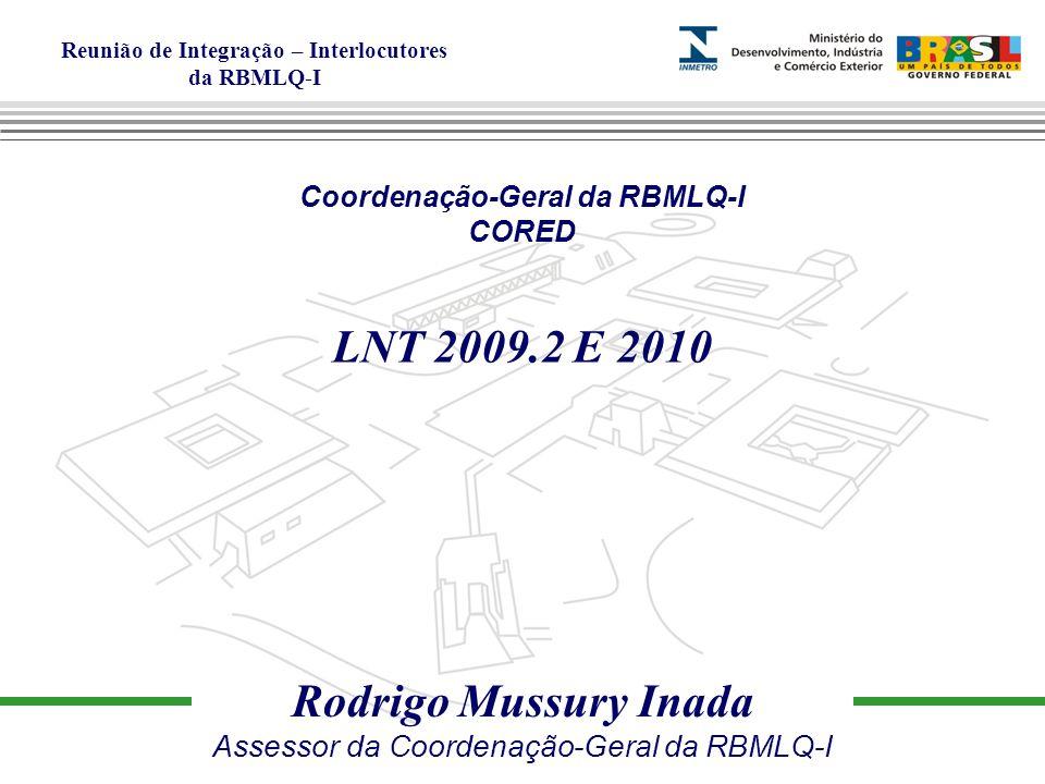 Reunião de Integração – Interlocutores da RBMLQ-I Rodrigo Mussury Inada Assessor da Coordenação-Geral da RBMLQ-I Coordenação-Geral da RBMLQ-I CORED LNT 2009.2 E 2010