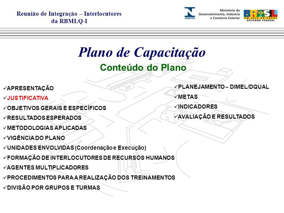 Reunião de Integração – Interlocutores da RBMLQ-I Plano de Capacitação Conteúdo do Plano JUSTIFICATIVA Art.