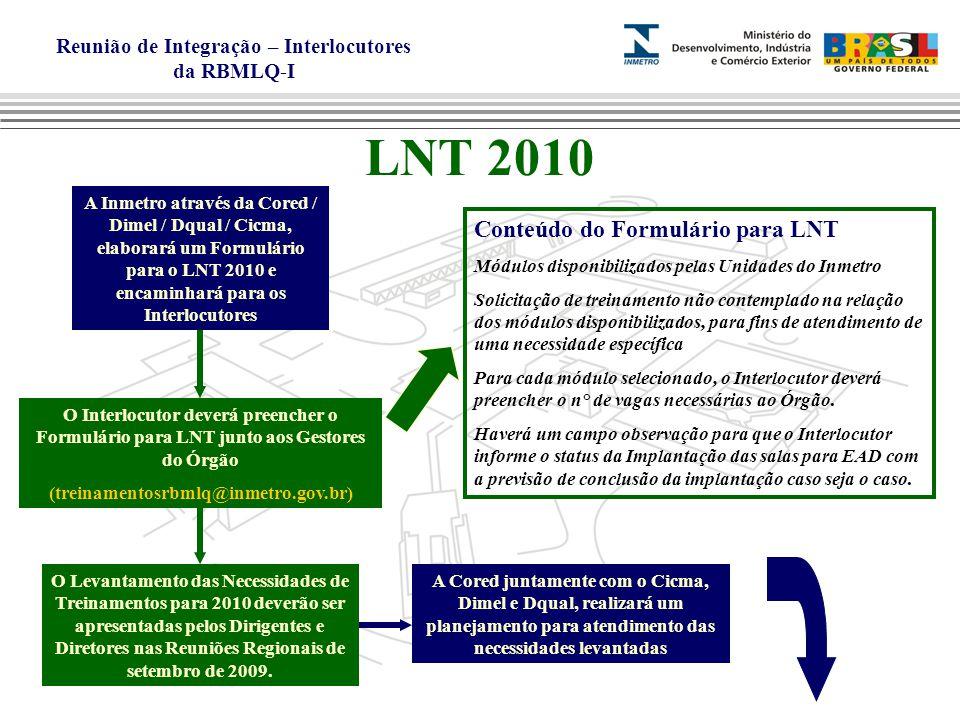 Reunião de Integração – Interlocutores da RBMLQ-I LNT 2010 A Inmetro através da Cored / Dimel / Dqual / Cicma, elaborará um Formulário para o LNT 2010 e encaminhará para os Interlocutores O Interlocutor deverá preencher o Formulário para LNT junto aos Gestores do Órgão (treinamentosrbmlq@inmetro.gov.br) Conteúdo do Formulário para LNT Módulos disponibilizados pelas Unidades do Inmetro Solicitação de treinamento não contemplado na relação dos módulos disponibilizados, para fins de atendimento de uma necessidade específica Para cada módulo selecionado, o Interlocutor deverá preencher o n° de vagas necessárias ao Órgão.