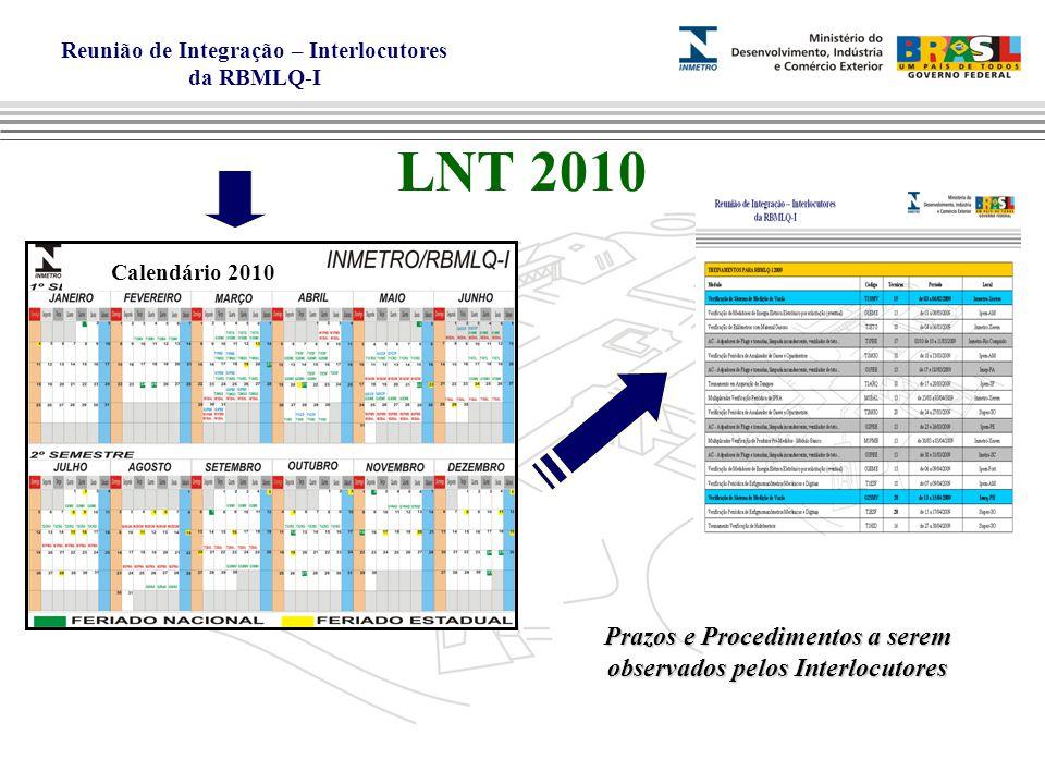 Reunião de Integração – Interlocutores da RBMLQ-I LNT 2010 Calendário 2010 Prazos e Procedimentos a serem observados pelos Interlocutores