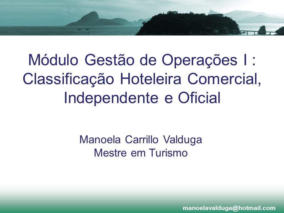 Módulo Gestão de Operações I : Classificação Hoteleira Comercial, Independente e Oficial manoelavalduga@hotmail.com Manoela Carrillo Valduga Mestre em
