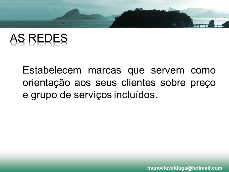 Estabelecem marcas que servem como orientação aos seus clientes sobre preço e grupo de serviços incluídos. manoelavalduga@hotmail.com