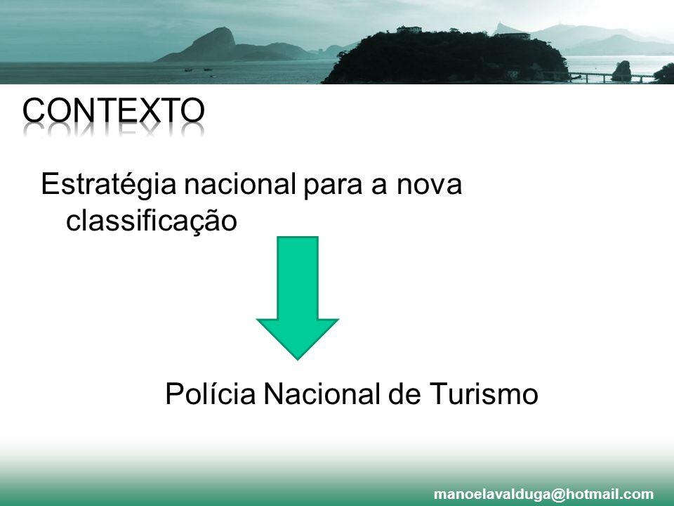 Estratégia nacional para a nova classificação Polícia Nacional de Turismo manoelavalduga@hotmail.com