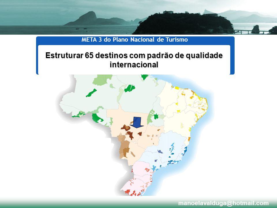 Estruturar 65 destinos com padrão de qualidade internacional META 3 do Plano Nacional de Turismo manoelavalduga@hotmail.com