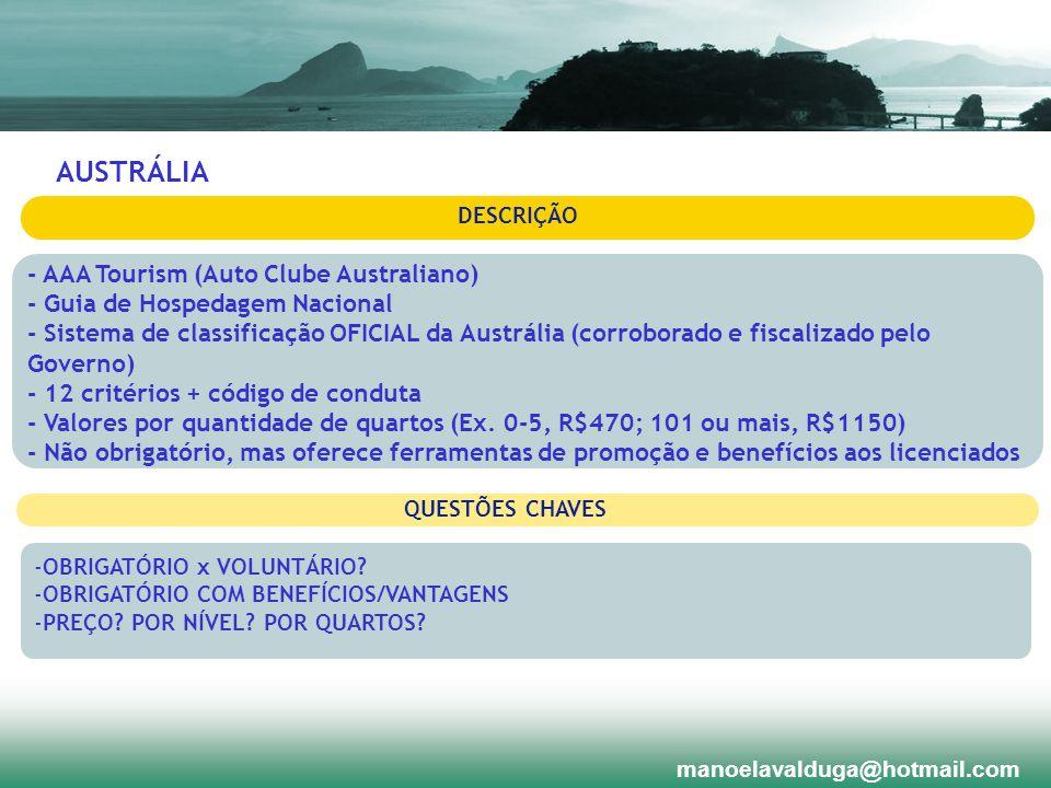 DESCRIÇÃO - AAA Tourism (Auto Clube Australiano) - Guia de Hospedagem Nacional - Sistema de classificação OFICIAL da Austrália (corroborado e fiscaliz