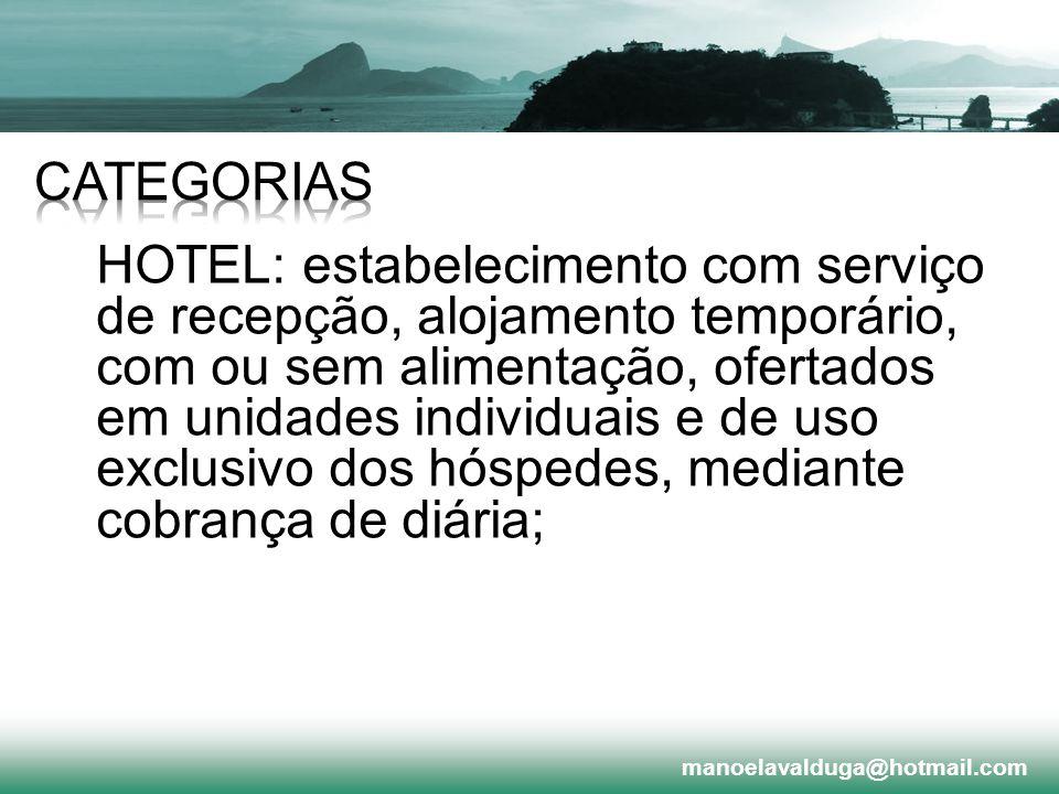 HOTEL: estabelecimento com serviço de recepção, alojamento temporário, com ou sem alimentação, ofertados em unidades individuais e de uso exclusivo do