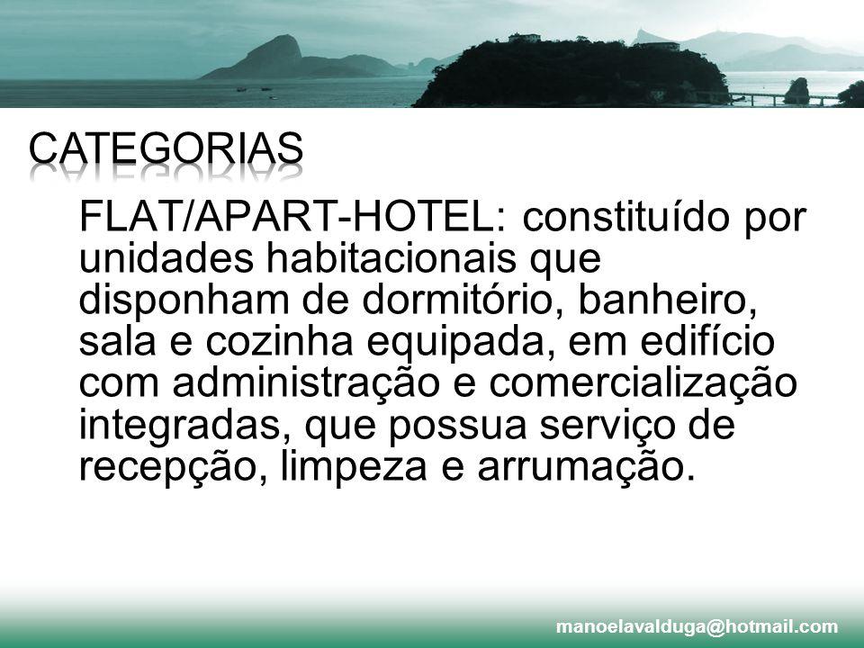 FLAT/APART-HOTEL: constituído por unidades habitacionais que disponham de dormitório, banheiro, sala e cozinha equipada, em edifício com administração