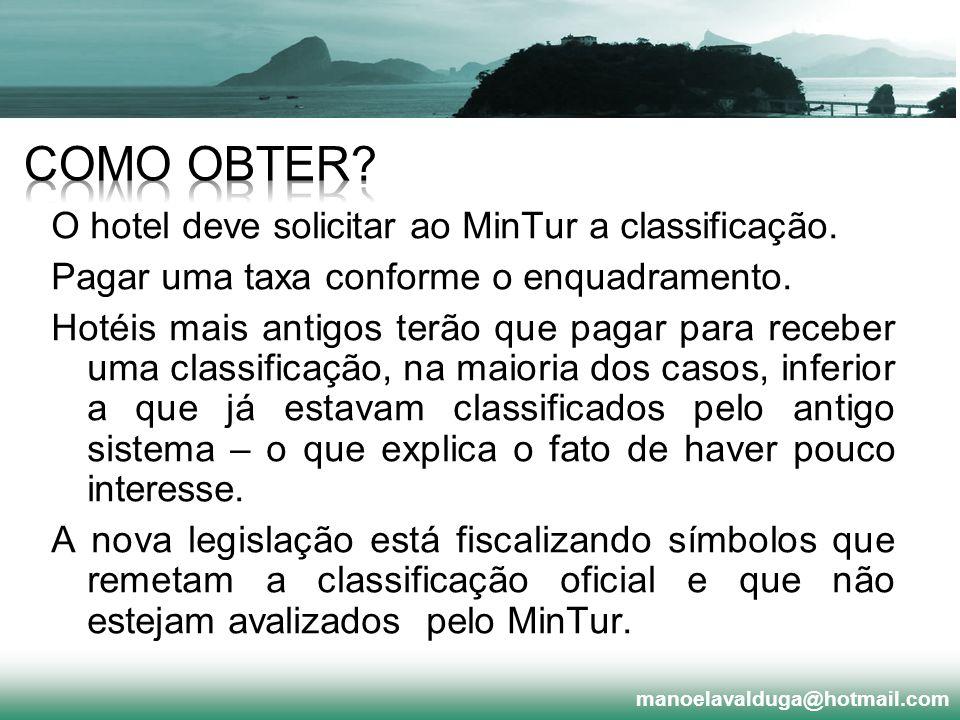 O hotel deve solicitar ao MinTur a classificação. Pagar uma taxa conforme o enquadramento. Hotéis mais antigos terão que pagar para receber uma classi