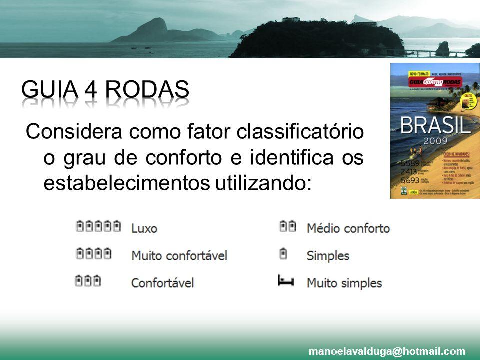 Considera como fator classificatório o grau de conforto e identifica os estabelecimentos utilizando: manoelavalduga@hotmail.com