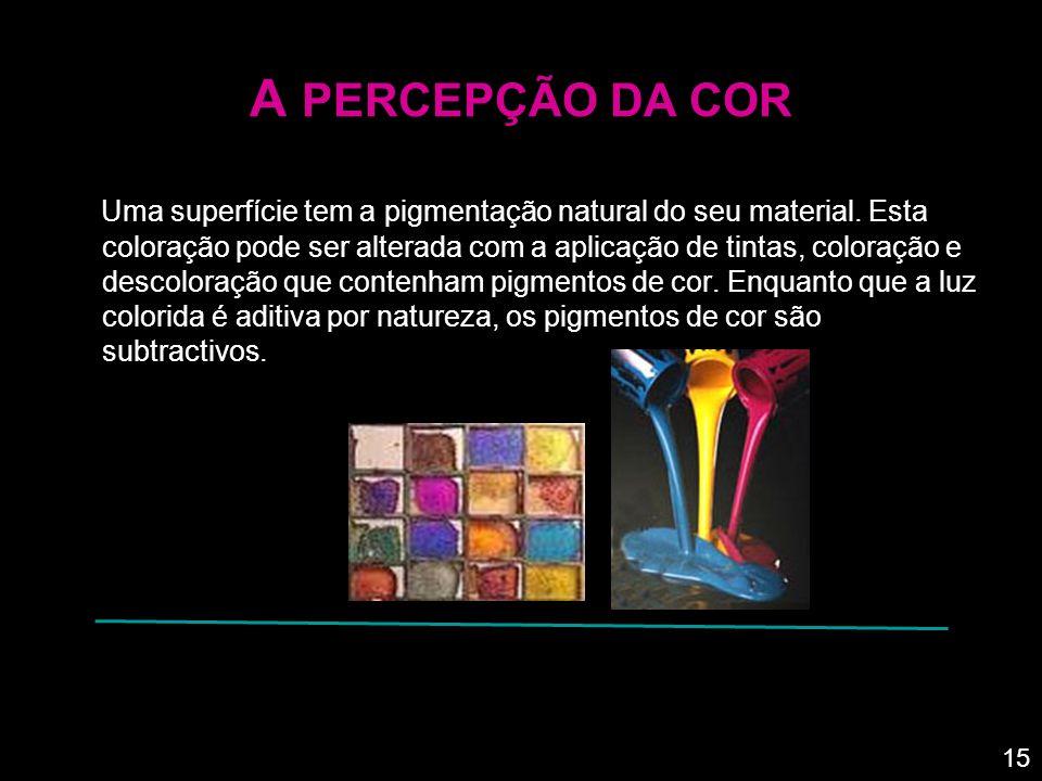 A PERCEPÇÃO DA COR Os comprimentos de onda ou bandas de luz que são absorvidas e as que são reflectidas como a cor do objecto, são determinadas pela pigmentação da superfície.