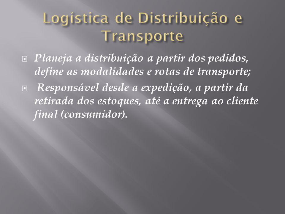 Planeja a distribuição a partir dos pedidos, define as modalidades e rotas de transporte; Responsável desde a expedição, a partir da retirada dos estoques, até a entrega ao cliente final (consumidor).