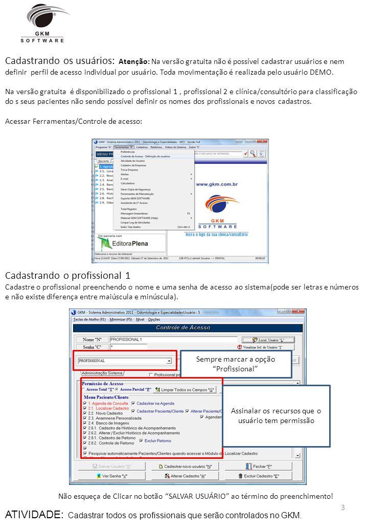 Cadastrando os usuários: Atenção: Na versão gratuita não é possível cadastrar usuários e nem definir perfil de acesso individual por usuário. Toda mov