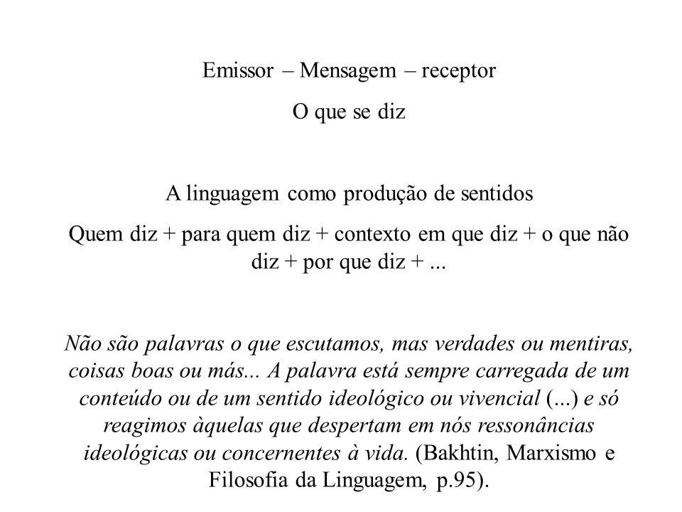 Emissor – Mensagem – receptor O que se diz A linguagem como produção de sentidos Quem diz + para quem diz + contexto em que diz + o que não diz + por