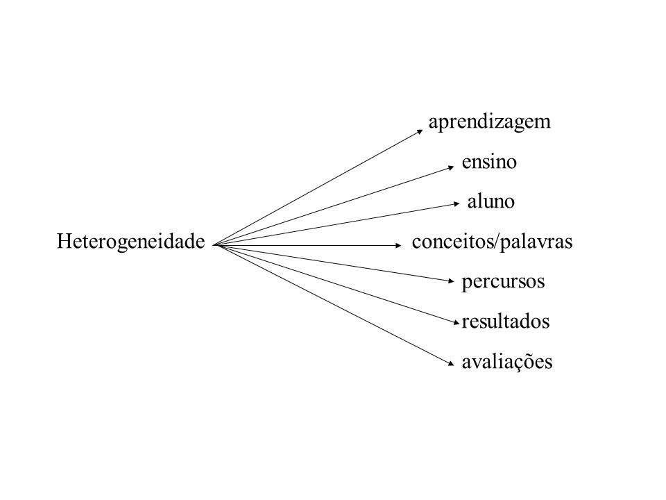 aprendizagem ensino aluno Heterogeneidade conceitos/palavras percursos resultados avaliações