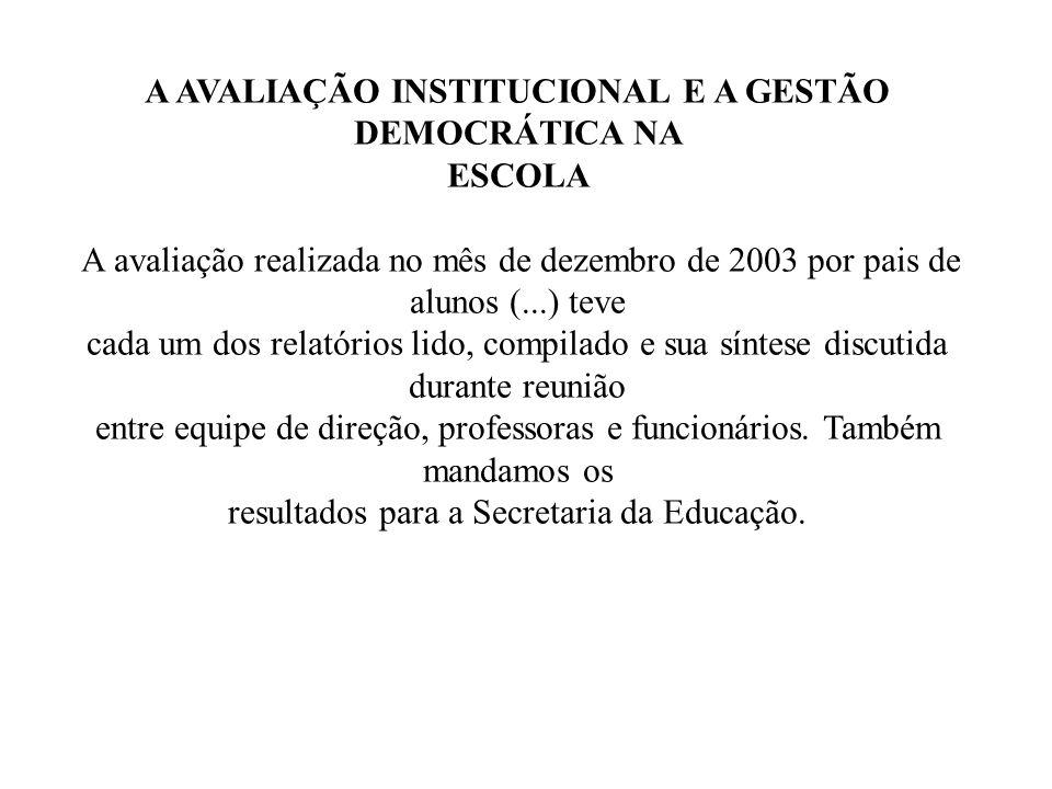 A AVALIAÇÃO INSTITUCIONAL E A GESTÃO DEMOCRÁTICA NA ESCOLA A avaliação realizada no mês de dezembro de 2003 por pais de alunos (...) teve cada um dos