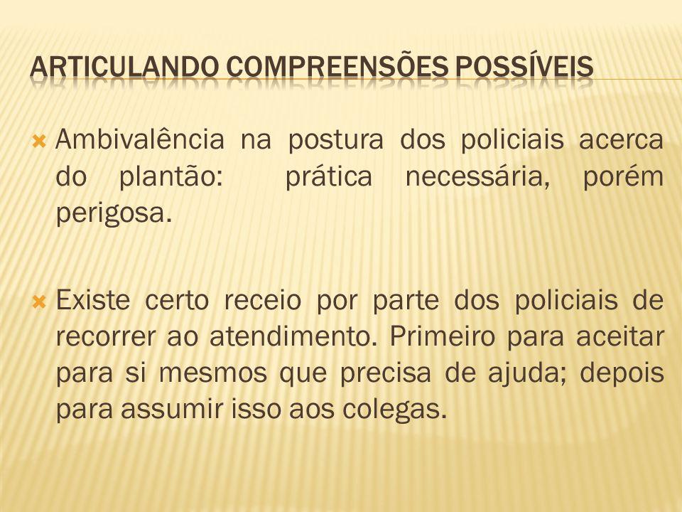 Ambivalência na postura dos policiais acerca do plantão: prática necessária, porém perigosa.