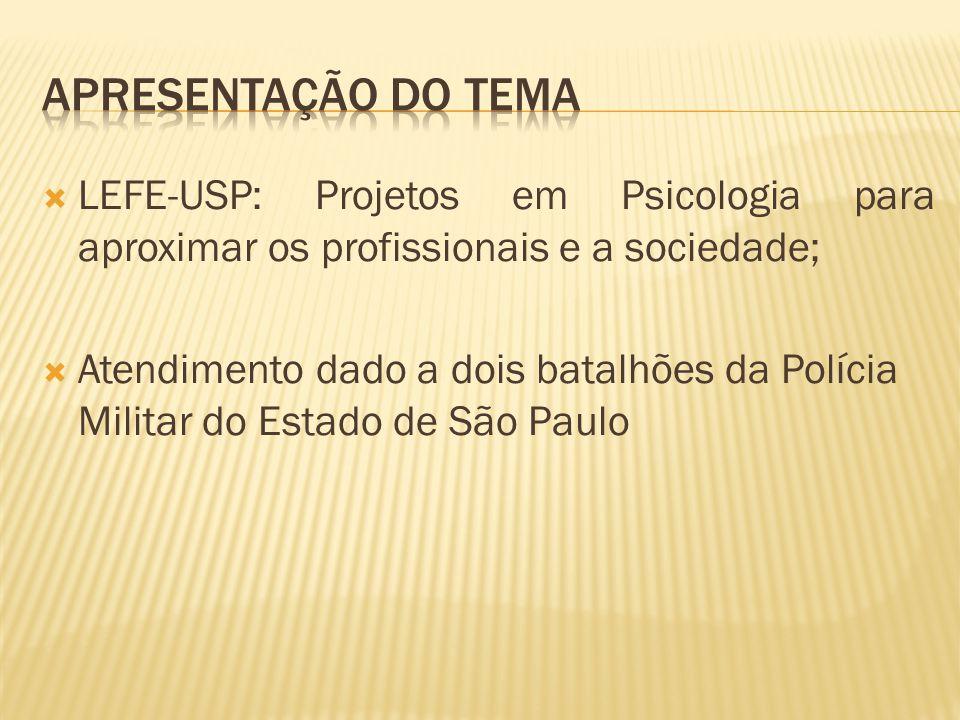 LEFE-USP: Projetos em Psicologia para aproximar os profissionais e a sociedade; Atendimento dado a dois batalhões da Polícia Militar do Estado de São Paulo