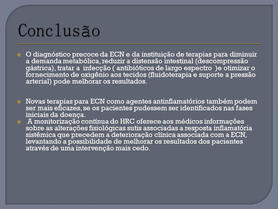 O diagnóstico precoce da ECN e da instituição de terapias para diminuir a demanda metabólica, reduzir a distensão intestinal (descompressão gástrica),