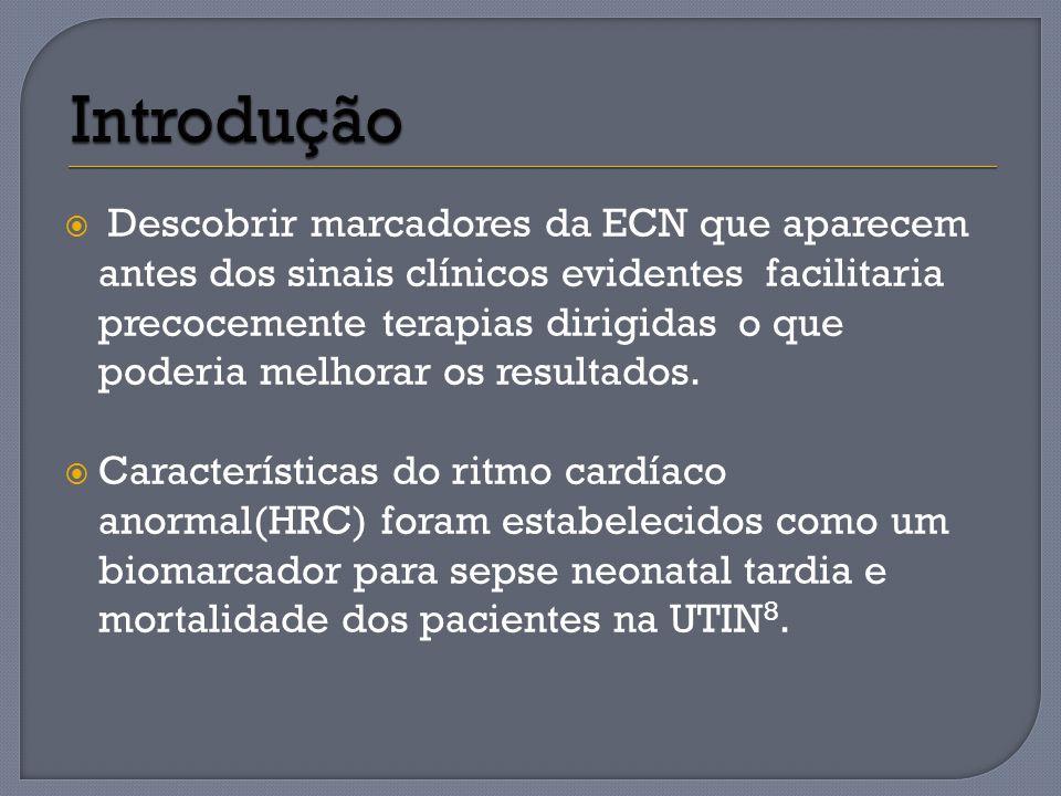 Capturas de tela do monitor características da freqüência cardíaca ( HRC), mostrando HRC normal e HRC anormal em um paciente com enterocolite necrosante (ECN) Em ( a) monitor HRC para um paciente individual com HRC normal.
