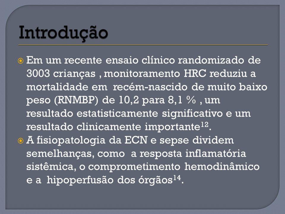 Considerando-se apenas os pacientes com hemocultura negativa no tempo de diagnóstico da ECN, houve um índice HRC significativamente maior naqueles com ECN cirúrgica em comparação com aqueles com ECN clinica (3,8 ± 2,0 vs 2,2 ± 1,7, P = 0,007).