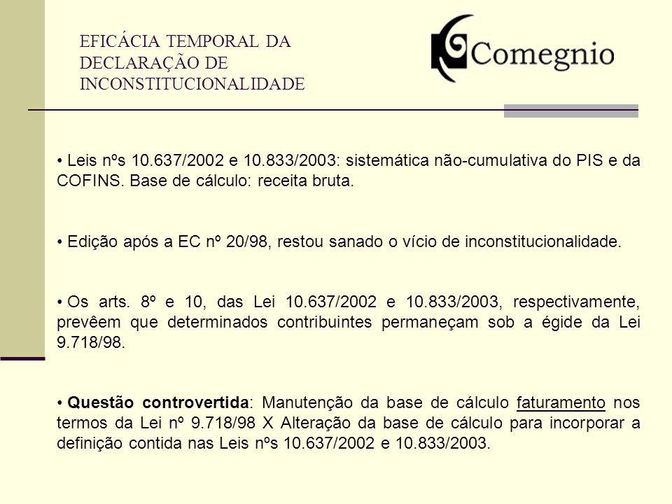 EFICÁCIA TEMPORAL DA DECLARAÇÃO DE INCONSTITUCIONALIDADE Leis nºs 10.637/2002 e 10.833/2003: sistemática não-cumulativa do PIS e da COFINS. Base de cá