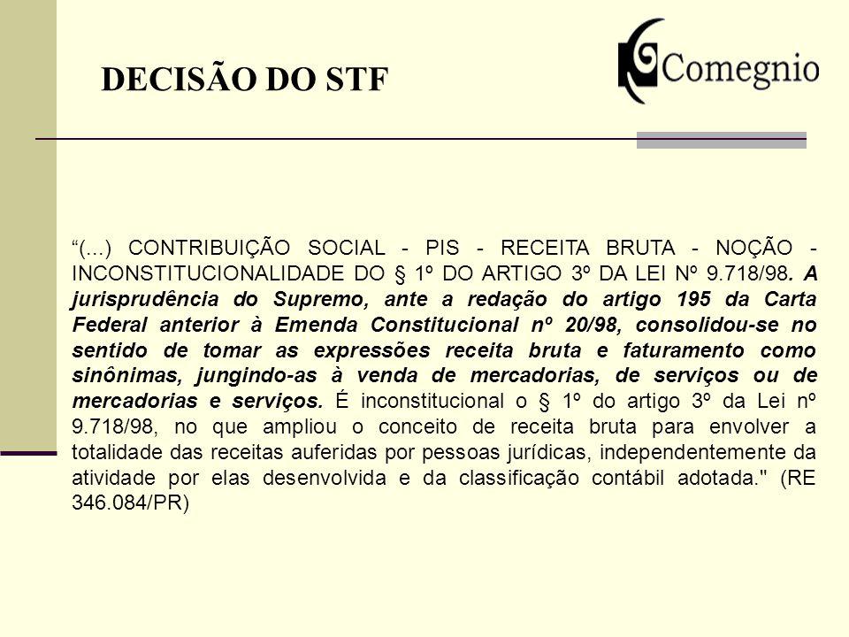 DECISÃO DO STF (...) CONTRIBUIÇÃO SOCIAL - PIS - RECEITA BRUTA - NOÇÃO - INCONSTITUCIONALIDADE DO § 1º DO ARTIGO 3º DA LEI Nº 9.718/98. A jurisprudênc