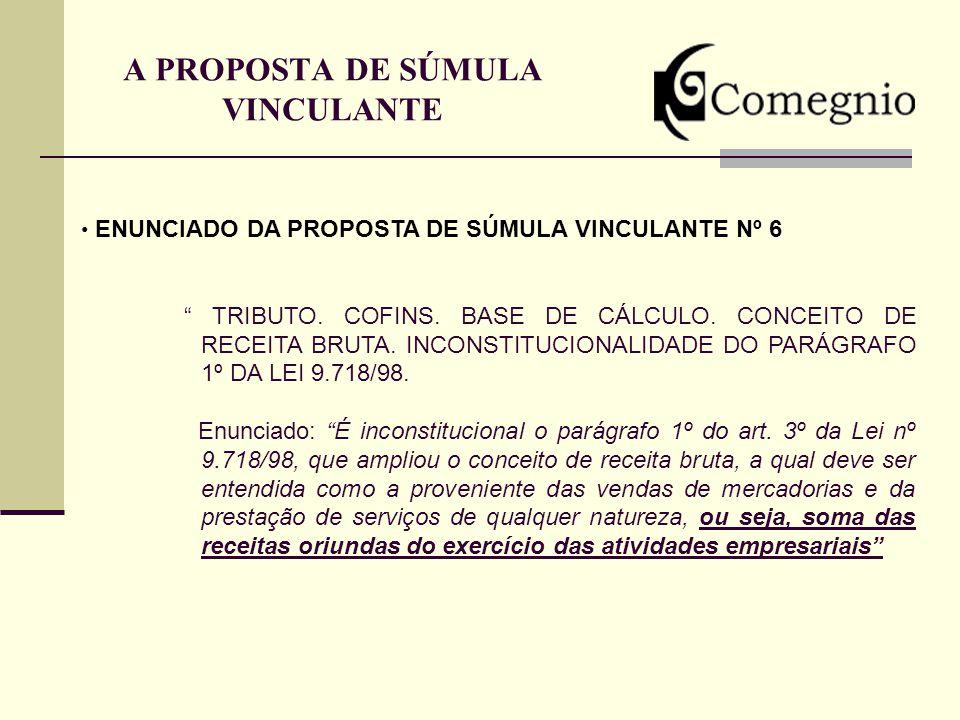 A PROPOSTA DE SÚMULA VINCULANTE ENUNCIADO DA PROPOSTA DE SÚMULA VINCULANTE Nº 6 TRIBUTO. COFINS. BASE DE CÁLCULO. CONCEITO DE RECEITA BRUTA. INCONSTIT