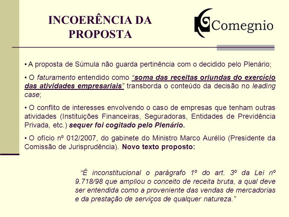 INCOERÊNCIA DA PROPOSTA A proposta de Súmula não guarda pertinência com o decidido pelo Plenário; O faturamento entendido como soma das receitas oriun