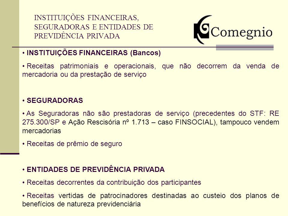 INSTITUIÇÕES FINANCEIRAS, SEGURADORAS E ENTIDADES DE PREVIDÊNCIA PRIVADA INSTITUIÇÕES FINANCEIRAS (Bancos) Receitas patrimoniais e operacionais, que n