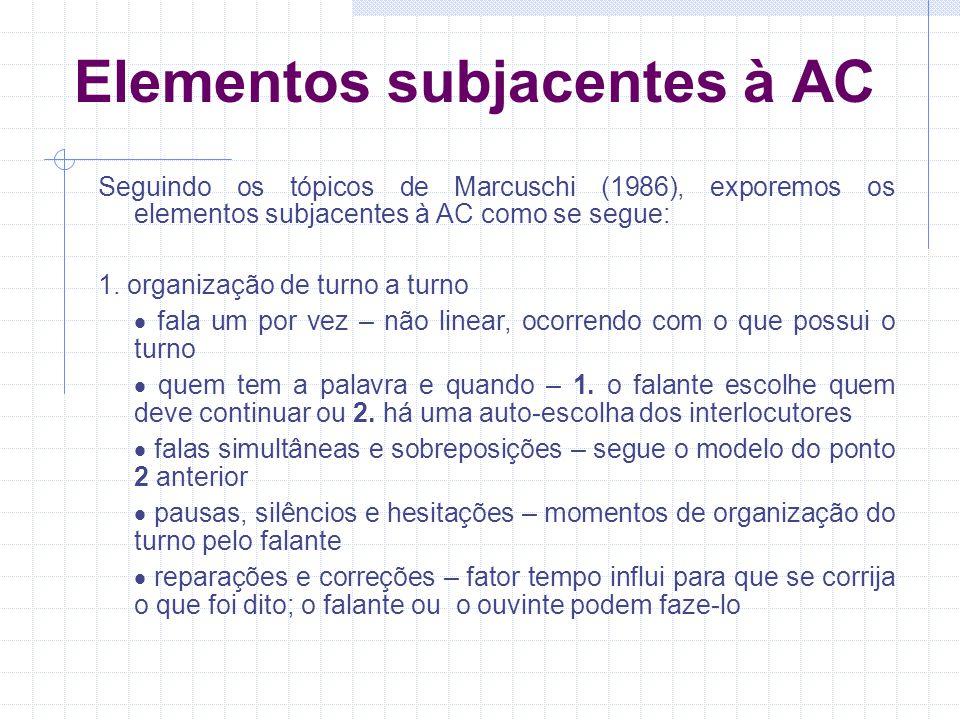 Elementos subjacentes à AC Seguindo os tópicos de Marcuschi (1986), exporemos os elementos subjacentes à AC como se segue: 1.