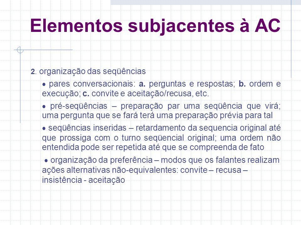 Elementos subjacentes à AC 2.organização das seqüências pares conversacionais: a.