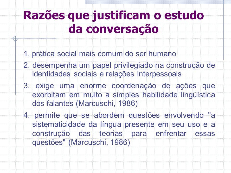 Razões que justificam o estudo da conversação 1.prática social mais comum do ser humano 2.