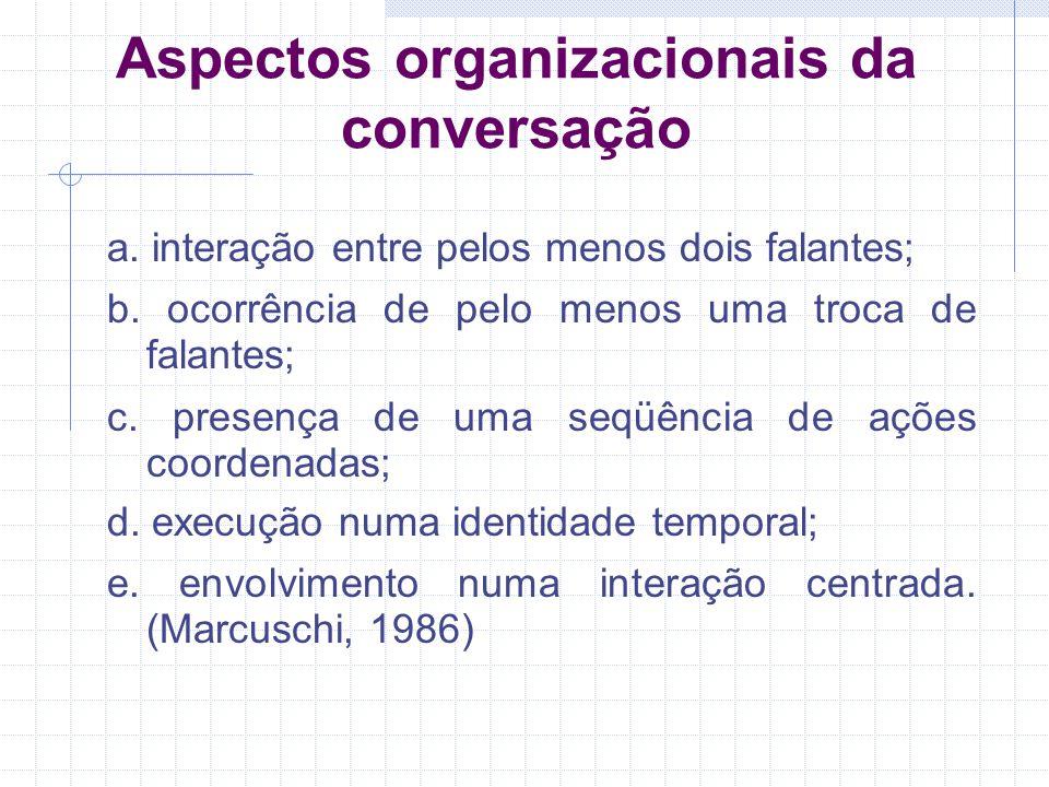 Aspectos organizacionais da conversação a.interação entre pelos menos dois falantes; b.