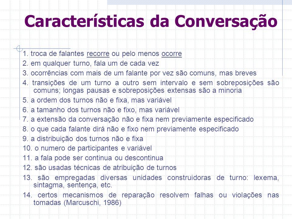 Características da Conversação 1.troca de falantes recorre ou pelo menos ocorre 2.