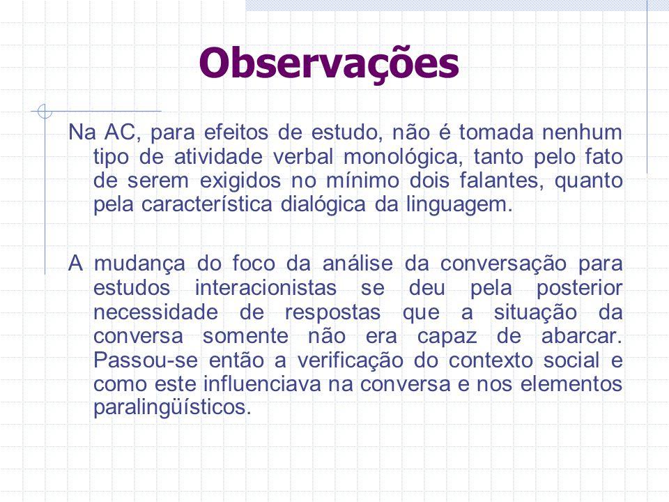 Observações Na AC, para efeitos de estudo, não é tomada nenhum tipo de atividade verbal monológica, tanto pelo fato de serem exigidos no mínimo dois falantes, quanto pela característica dialógica da linguagem.