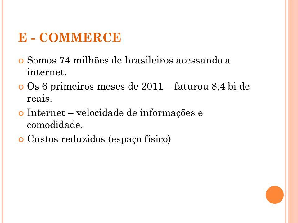 E - COMMERCE Somos 74 milhões de brasileiros acessando a internet. Os 6 primeiros meses de 2011 – faturou 8,4 bi de reais. Internet – velocidade de in