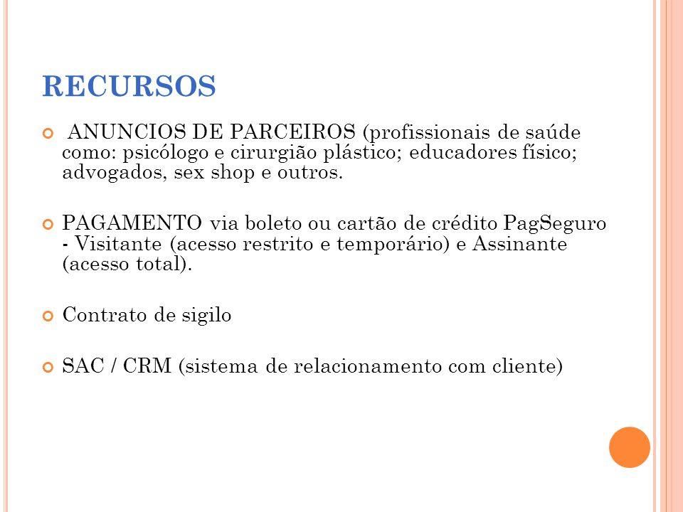 RECURSOS ANUNCIOS DE PARCEIROS (profissionais de saúde como: psicólogo e cirurgião plástico; educadores físico; advogados, sex shop e outros. PAGAMENT