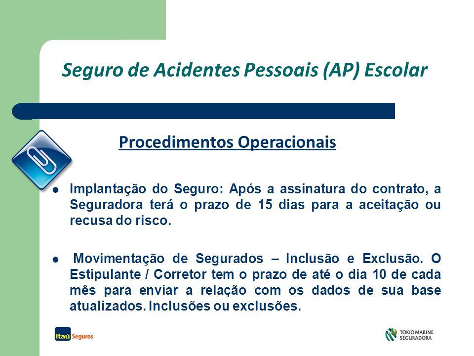 Seguro de Acidentes Pessoais (AP) Escolar Implantação do Seguro: Após a assinatura do contrato, a Seguradora terá o prazo de 15 dias para a aceitação ou recusa do risco.