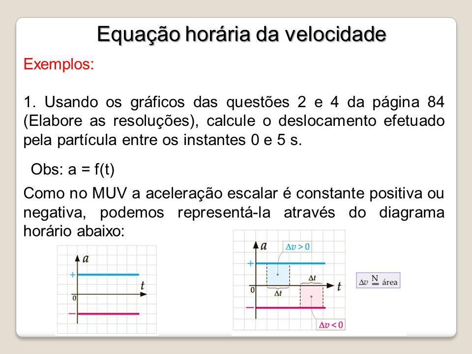 Exemplos: 1. Usando os gráficos das questões 2 e 4 da página 84 (Elabore as resoluções), calcule o deslocamento efetuado pela partícula entre os insta
